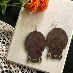 Afro girl wooden earrings